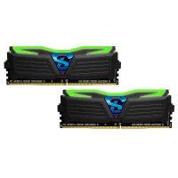 Модуль памяти GEIL Super Luce Stealth Black with Green LED DDR4 2400MHz 8GB Kit 2x4GB (GLG48GB2400C16DC)