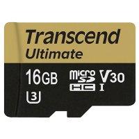 Карта памяти TRANSCEND microSDHC Ultimate 16GB UHS-I U3 Class 10 + SD-adapter (TS16GUSDU3M)