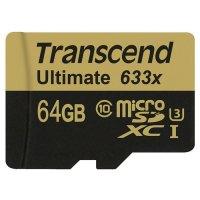 Карта памяти TRANSCEND microSDXC Ultimate 64GB UHS-I U3 Class 10 + SD-adapter (TS64GUSDU3M)