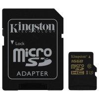 Карта памяти KINGSTON microSDHC Gold 16GB UHS-I U3 Class 10 + SD-adapter (SDCG/16GB)