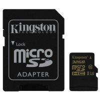 Карта памяти KINGSTON microSDHC Gold 32GB UHS-I U3 Class 10 + SD-adapter (SDCG/32GB)