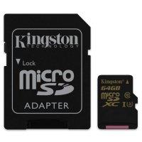 Карта памяти KINGSTON microSDXC Gold 64GB UHS-I U3 Class 10 + SD-adapter (SDCG/64GB)