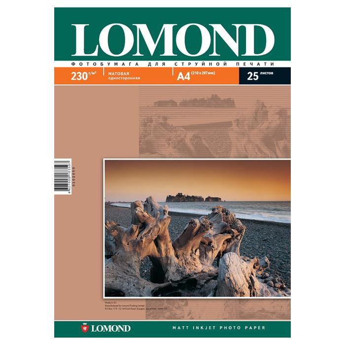 Бумага матова LOMOND A4, 230 г/м2, 25 ар.