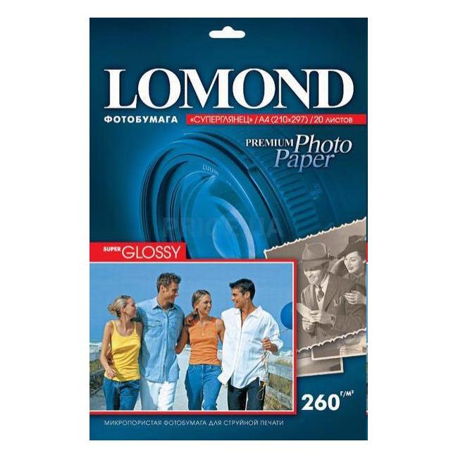 Папір суперглянцевий LOMOND A4, 260 г/м2, 20 л.
