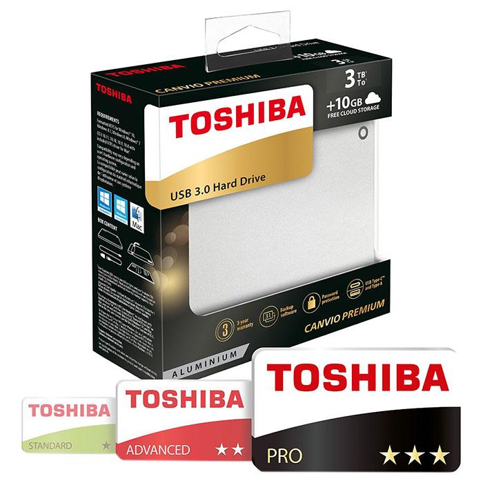 Портативный жёсткий диск TOSHIBA Canvio Premium 3TB USB3.0 Silver Metallic (HDTW130EC3CA)