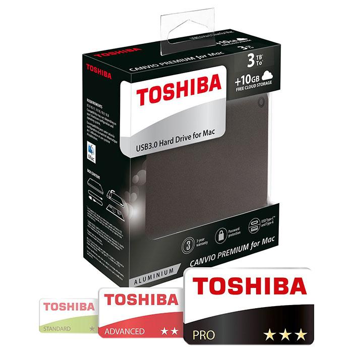 Портативный жёсткий диск TOSHIBA Canvio Premium for Mac 3TB USB3.0 Dark Gray Metallic (HDTW130EBMCA)