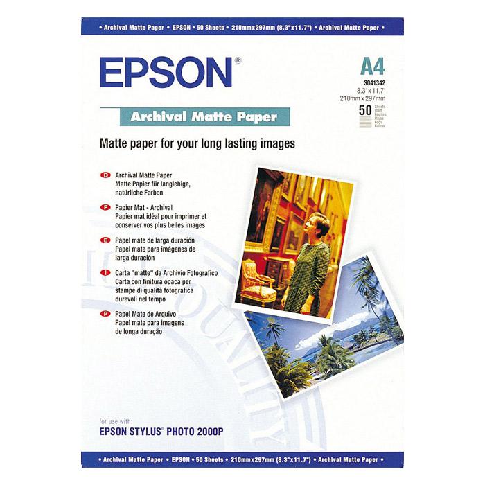 Фотопапір EPSON Archival Matte A4 192г/м² 50л (C13S041342)