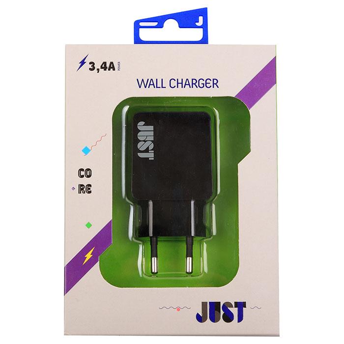 Сетевое зарядное устройство JUST Core Dual USB Wall Charger Black