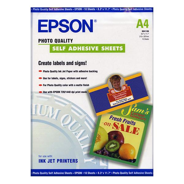 Фотопапір EPSON Photo Quality Self Adhesive A4 167г/м² 10л (C13S041106)