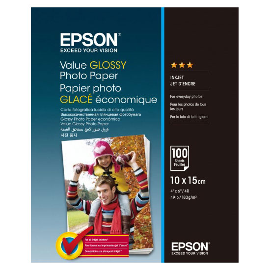 Фотопапір EPSON Value Glossy 10x15см 183г/м² 100л (C13S400039)