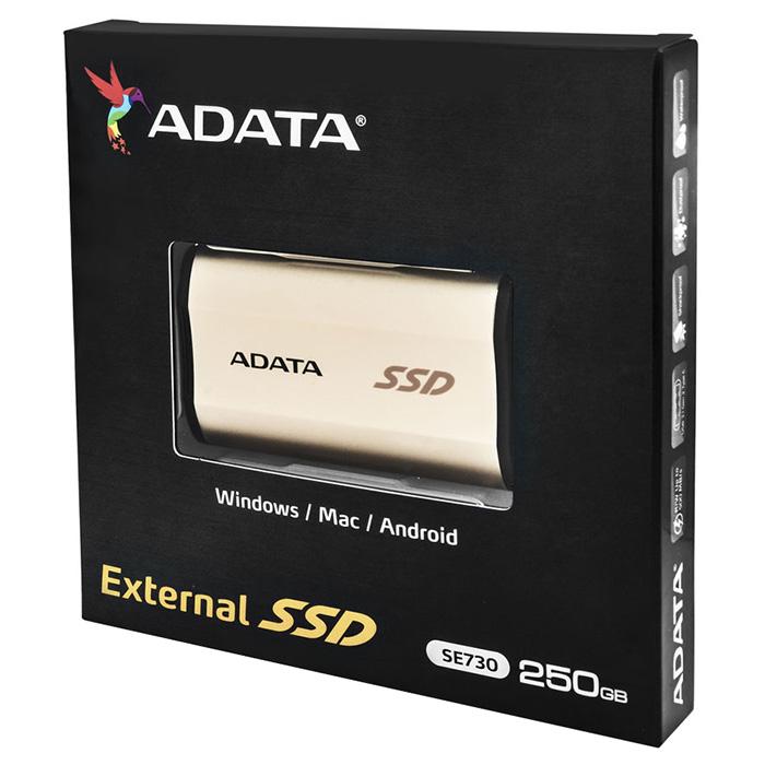 Портативный SSD ADATA SE730 250GB Gold (ASE730-250GU31-CGD)
