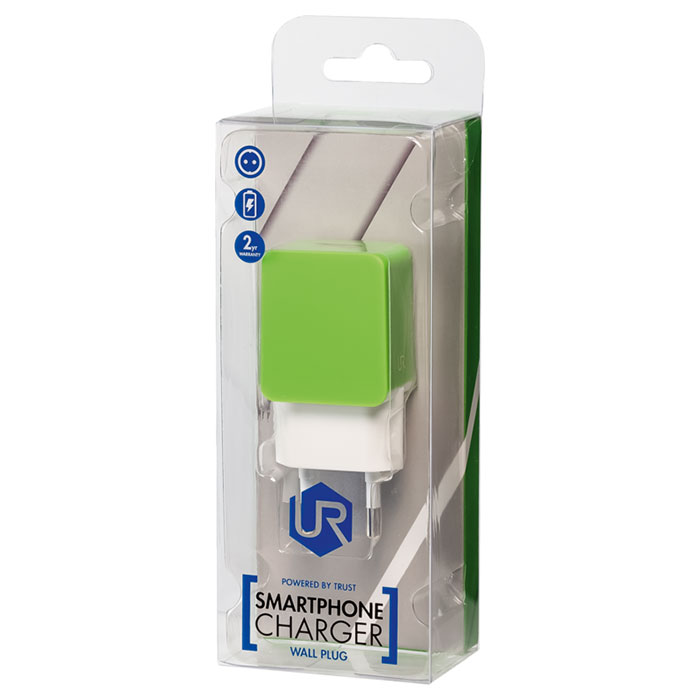 Зарядное устройство TRUST Urban Smart Wall Charger Lime Green (20146)