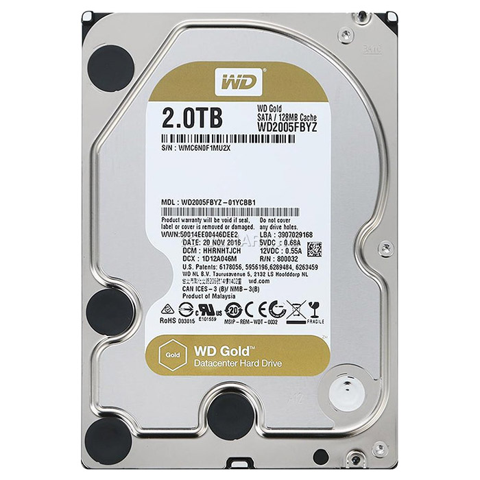 """Жёсткий диск 3.5"""" WD Gold 2TB SATA/128MB (WD2005FBYZ)"""