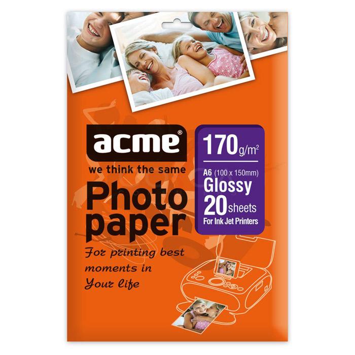 Папір глянцевий ACME A6, 170 г/м2, 20 л.