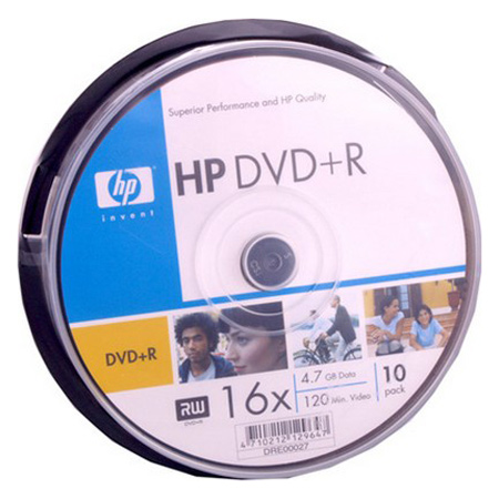 DVD+R HP 120min/4.7GB 16x (сake 10шт) (DRE00027/1)