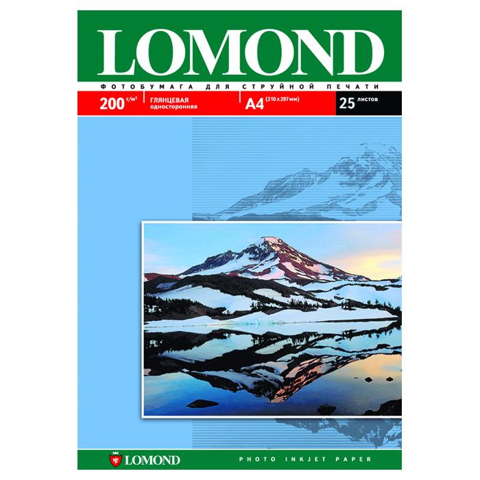 Бумага глянцева LOMOND A4, 200 г/м2, 25 ар.