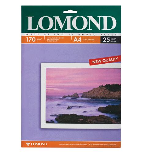 Бумага матовая двухсторонняя LOMOND A4, 170 г/м2, 25 л.