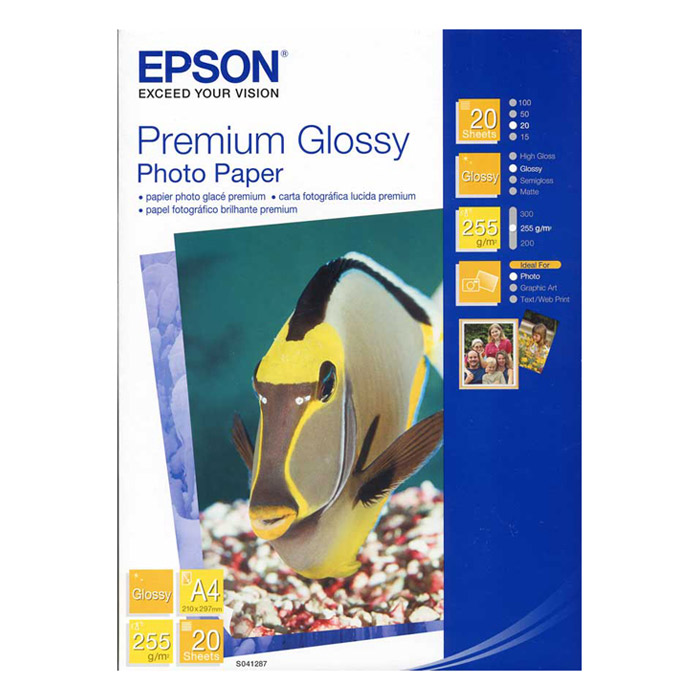 Фотопапір EPSON Premium Glossy A4 255г/м² 20л (C13S041287)