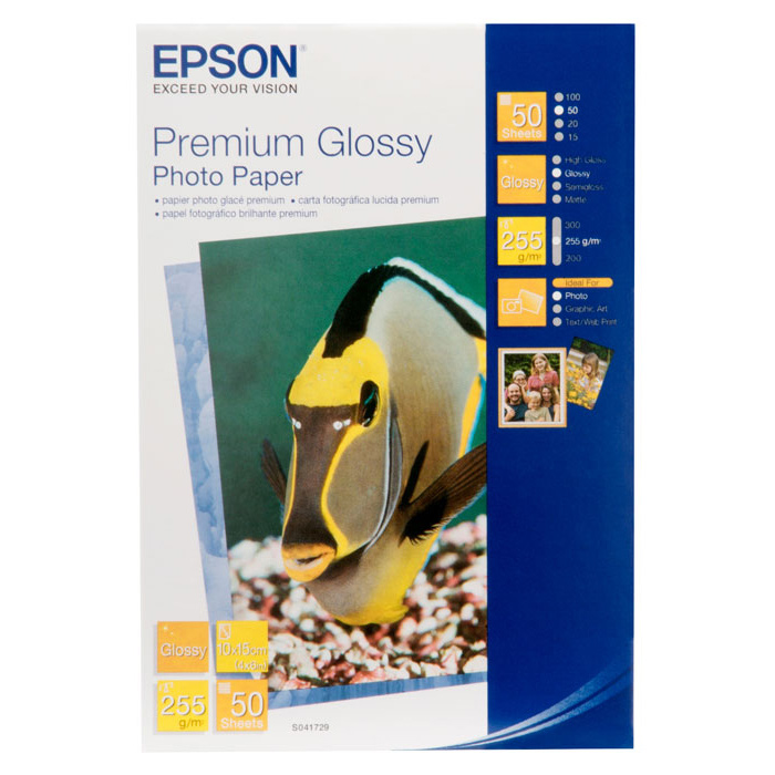Фотопапір EPSON Premium Glossy 10x15см 255г/м² 50л (C13S041729BH)