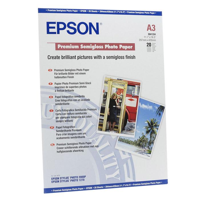 Фотопапір EPSON Premium Semi-Gloss A3 260г/м² 20л (C13S041334)