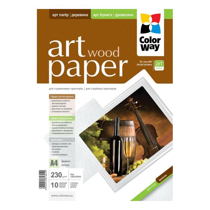 Фотопапір COLORWAY Art Wood A4 230г/м² 10л (PGA230010WA4)