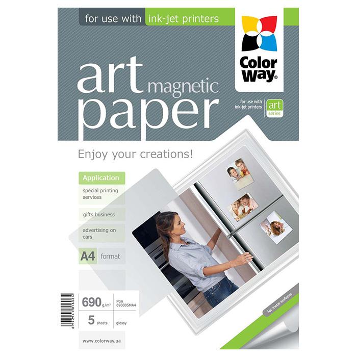 Папір магнітний COLORWAY Art Magnetic A4 690г/м² 5л (PGA690005MA4)