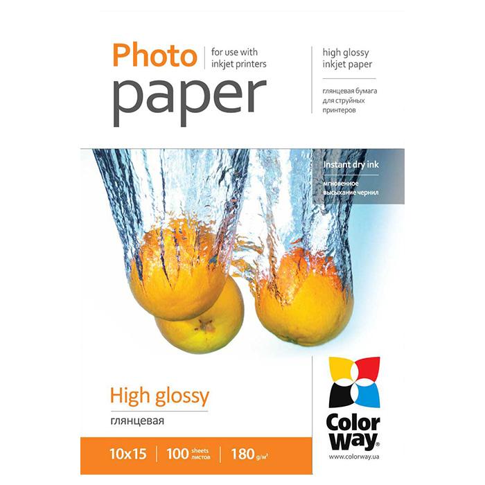 Фотопапір COLORWAY High Glossy 10x15см 180г/м² 100л (PG1801004R)