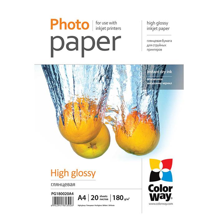 Фотопапір COLORWAY High Glossy A4 180г/м² 20л (PG180020A4)