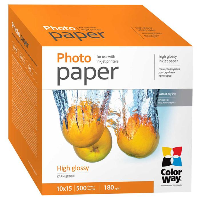 Фотопапір COLORWAY High Glossy 10x15см 180г/м² 500л (PG1805004R)