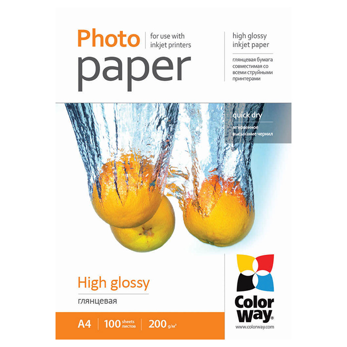 Фотопапір COLORWAY High Glossy A4 200г/м² 100л (PG200100A4)