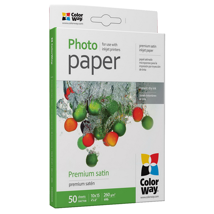 Фотопапір COLORWAY Premium Satin 10x15см 260г/м² 50л (PS2600504R)