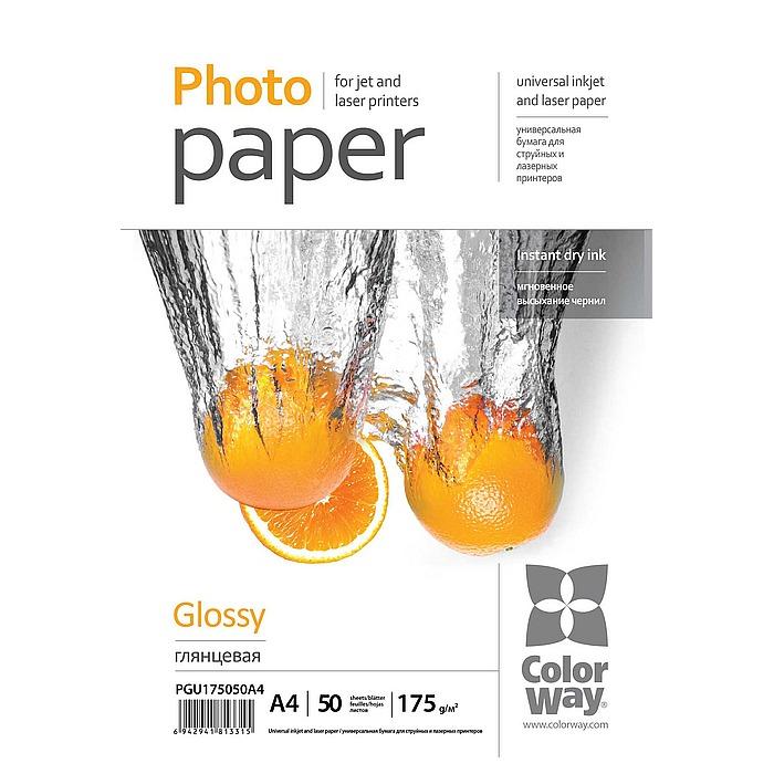 Фотопапір COLORWAY Glossy A4 175г/м² 50л (PGU175050A4)