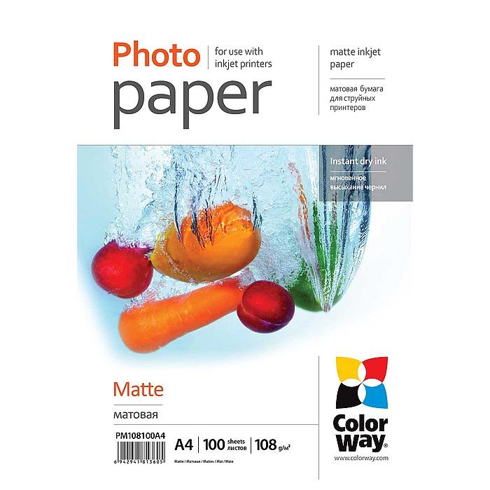 Фотопапір COLORWAY Matte A4 108г/м² 100л (PM108100A4)