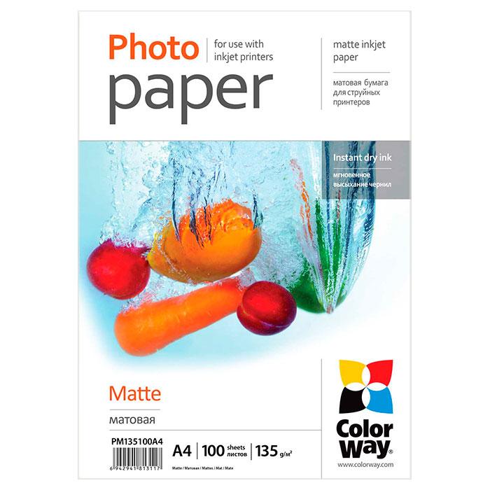Фотопапір COLORWAY Matte A4 135г/м² 100л (PM135100A4)