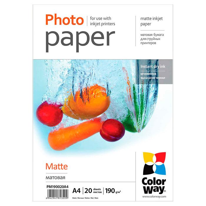 Фотопапір COLORWAY Matte A4 190г/м² 20л (PM190020A4)