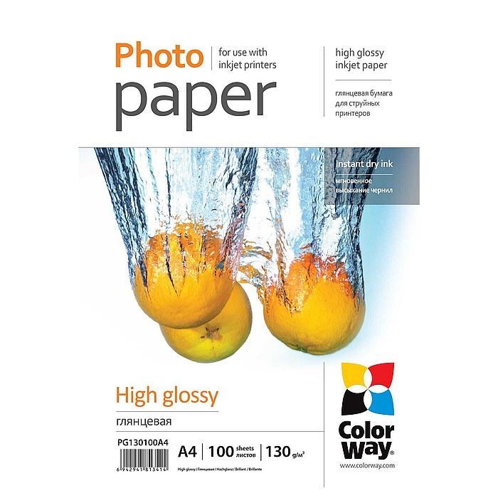 Фотопапір COLORWAY High Glossy A4 130г/м² 100л (PG130100A4)
