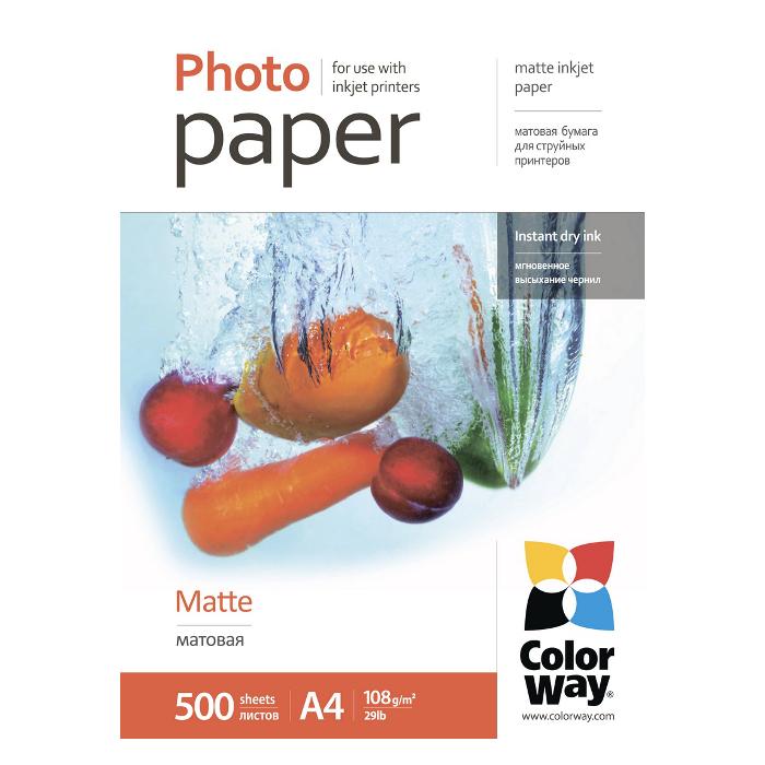 Фотопапір COLORWAY Matte A4 108г/м² 500л (PM108500A4)