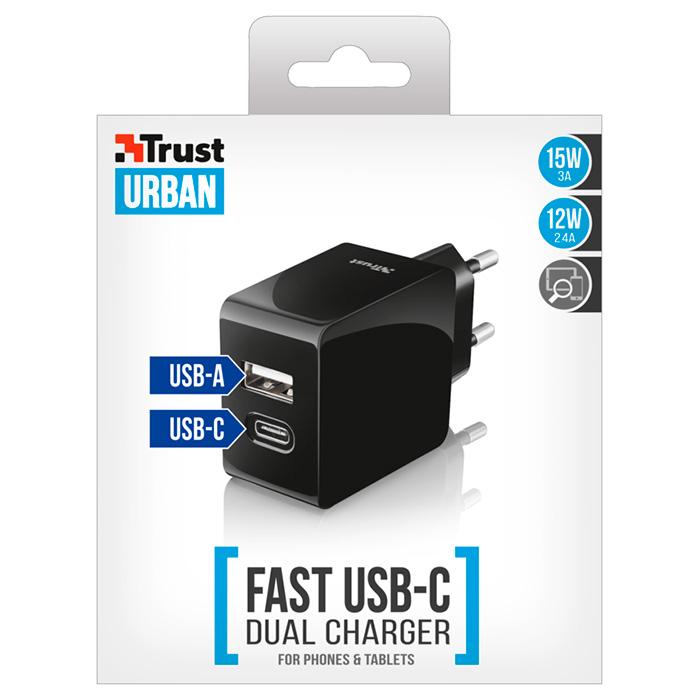 Зарядное устройство TRUST Urban Fast Dual (21589)
