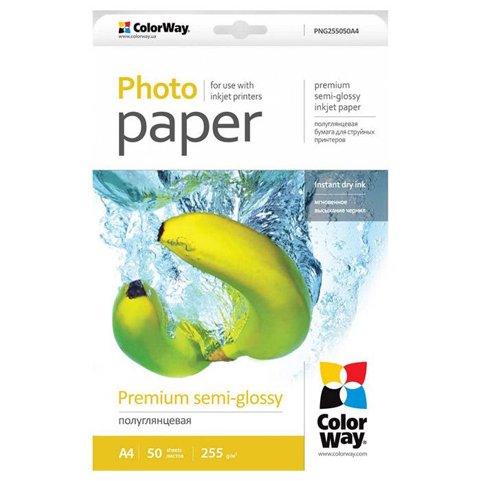 Фотопапір COLORWAY Premium Semi-Glossy A4 255г/м² 50л (PNG255050A4)