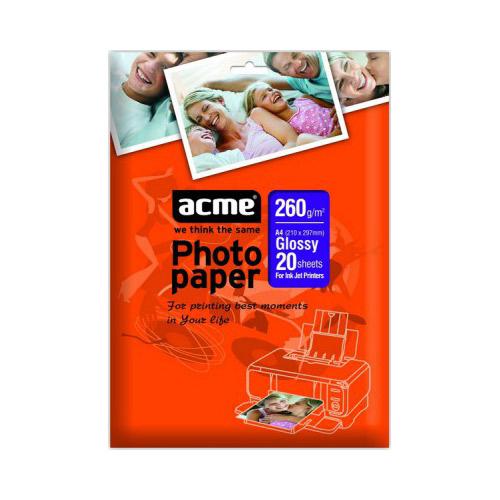 Папір глянцевий ACME A4, 260 г/м2, 20 л.