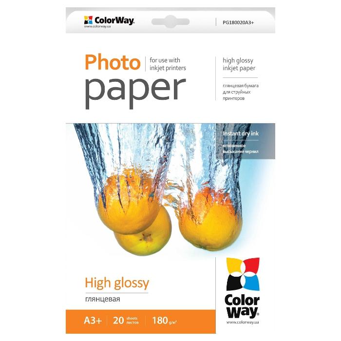 Фотопапір COLORWAY High Glossy A3+ 180г/м² 20л (PG180020A3+)