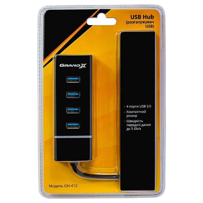 USB хаб GRAND-X GH-412 4-port