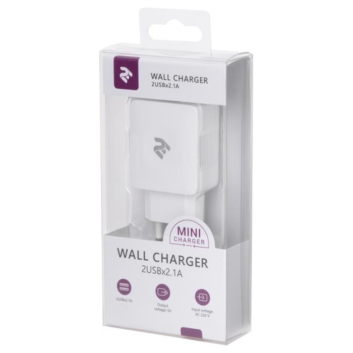 Зарядное устройство 2E Wall Charger 2USB x 2.1A (2E-WC4USB-W)