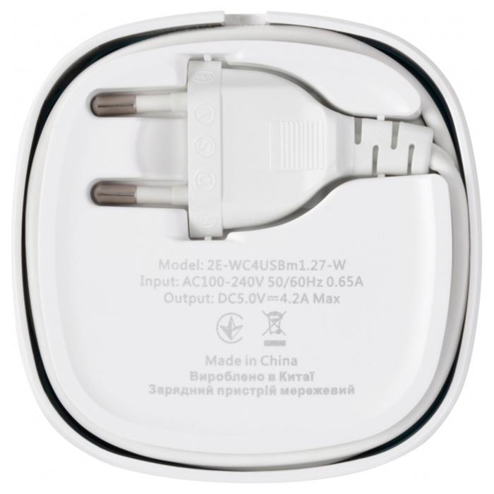 Зарядное устройство 2E Wall Charger 4USB 4.2A (2E-WC4USBM1.27-W)