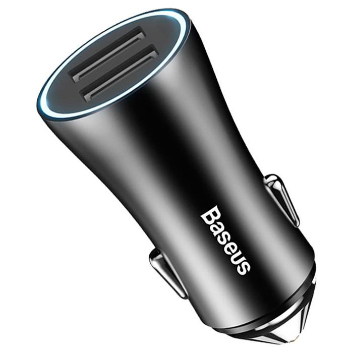 Автомобильное зарядное устройство BASEUS Golden Contactor Dual U Black (CCALL-DZ01)
