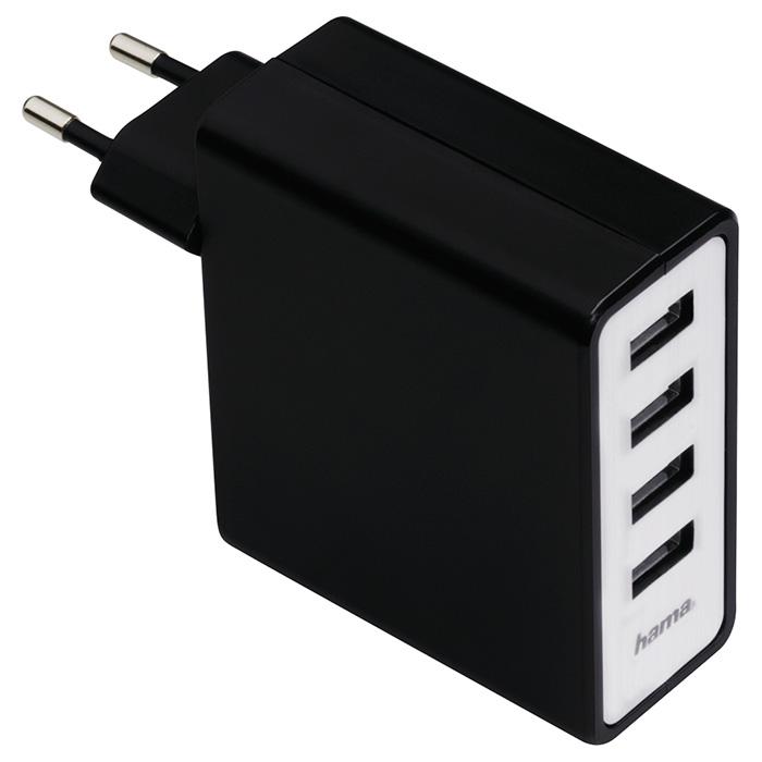 Зарядное устройство HAMA Auto-Detect 4-Port USB Charging Adapter (00054182)