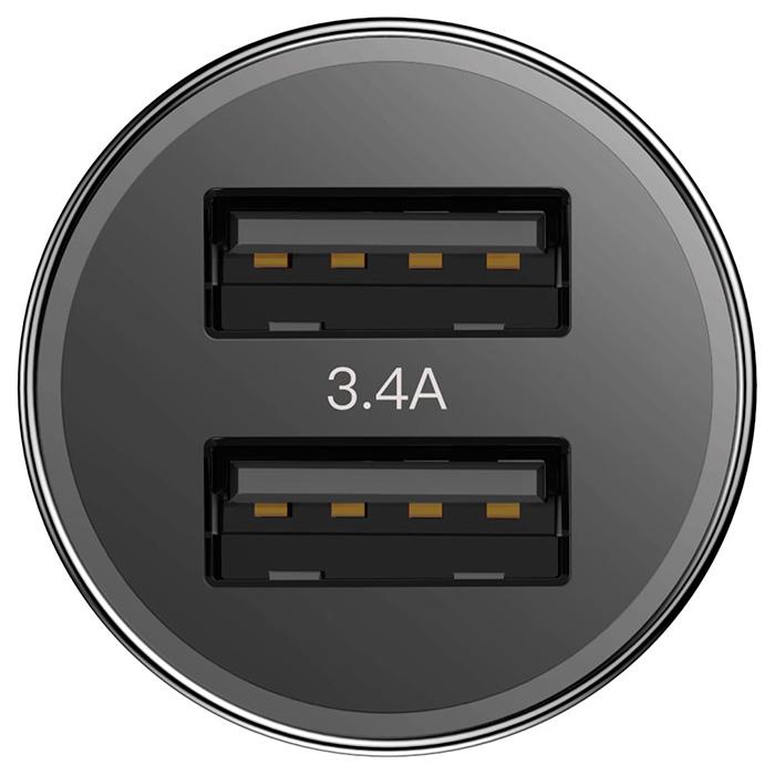 Автомобильное зарядное устройство BASEUS Small Screw 3.4A Black (CAXLD-C01)