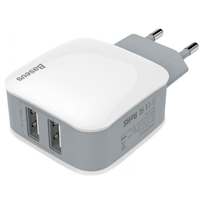 Зарядное устройство BASEUS Letour 2.4A White (ZCL2B-B02)