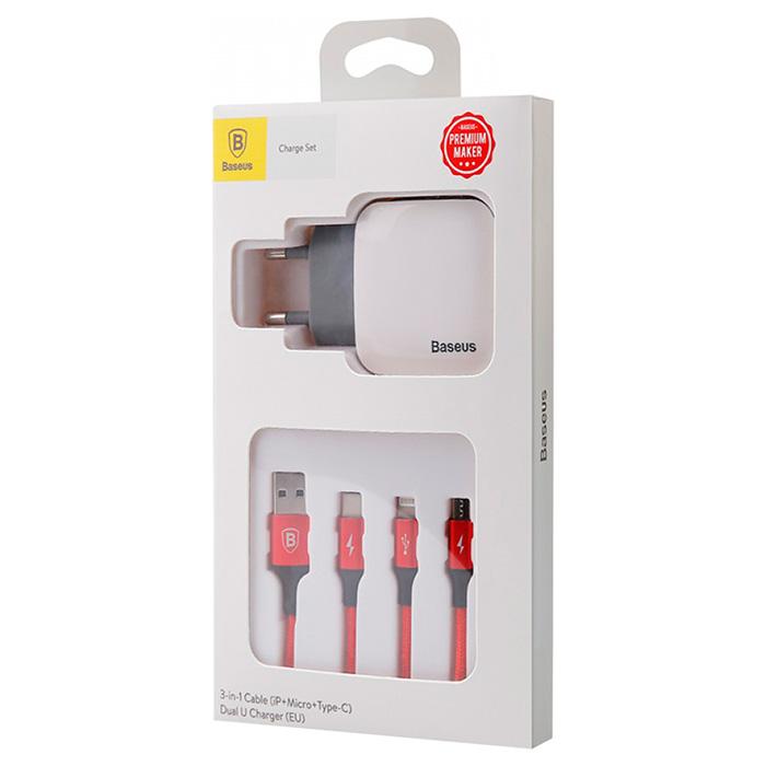 Зарядное устройство BASEUS Letour Dual USB Charger Lightning/Micro-USB/Type-C Cable White (TZCL-D92)