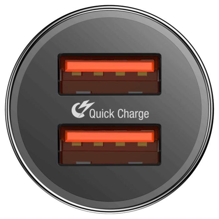 Автомобильное зарядное устройство BASEUS Small Screw Dual-USB Black (CAXLD-B01)